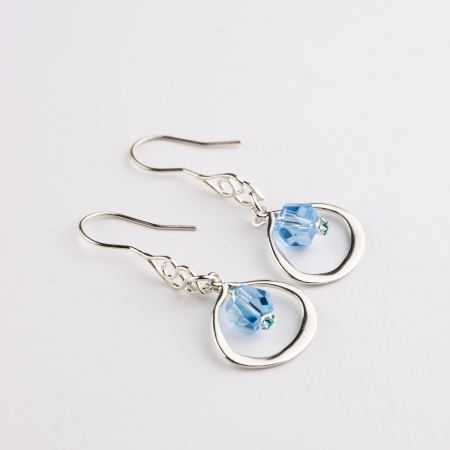 Sterling Silver Earring with Aquamarine Swarovski Crystal