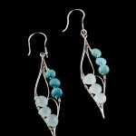 sterling silver earring with turquoise and aquamarine